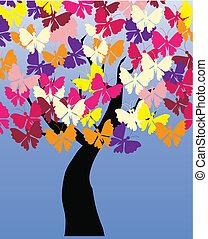 fjärilar, vektor, träd