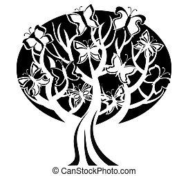 fjärilar, vektor, träd, illustration