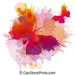 fjärilar, vit fond, stänk, färgrik