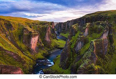 Fjadrargljufur canyon in Iceland at sunset