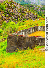 Fjell Fortress on island Sotra near Bergen Norway. War tourism