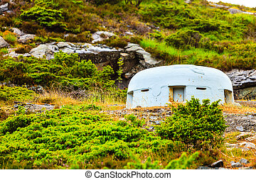 Fjell Fortress on island Sotra Norway, gun battery. War tourism