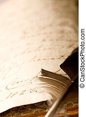 fjer, bog, gamle