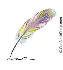 fjer, farverig, skrift