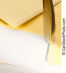 fjer, konvolut, isoleret