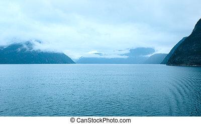 fjord, été, nuageux, vue, (norway)