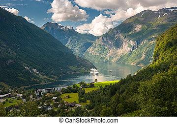fjord, geiranger, norvégia