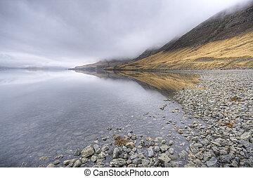 fjord, in, ijsland