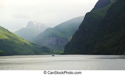 Fjord in Norway - nature and travel background. Beautiful ...