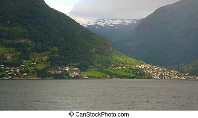 Fjord in Norway - nature and travel background. Beautiful...