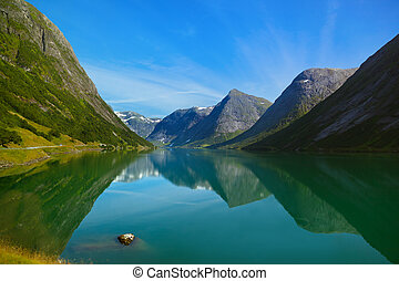 Fjord in Norway - nature and travel background