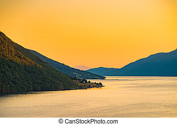 Fjord landscape at sunset in Norway