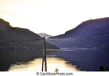 fjord landscape during autumnal sunset