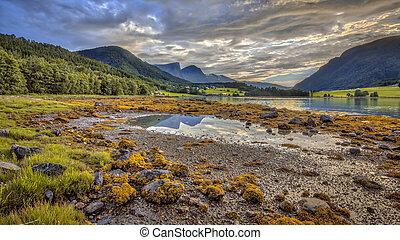 Fjord landscape mountain view