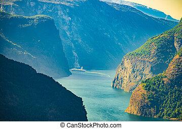 fjord, skib, norge, cruise