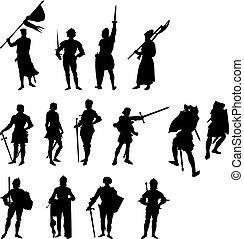 fjorton, silhouettes, riddare