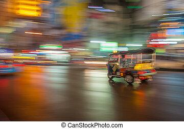 fläck, bangkok, thailand, rörelse, tuk-tuk