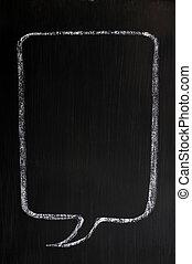 fläck, blackboard, anförande, tom, oavgjord, bubbla