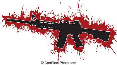fläckar, angrepp, blod, gevär