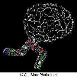 fläckar, hjärna, kadaver, lysande, signalljus, maska, spring