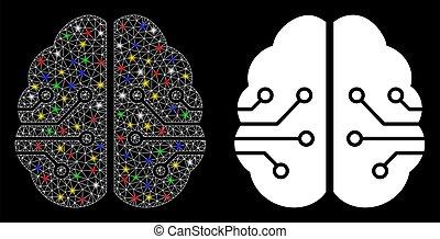 fläckar, maska, 2, signalljus, hjärna, ikon, elektronisk