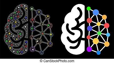 fläckar, maska, skapande, signalljus, hjärna, nätverk, ikon