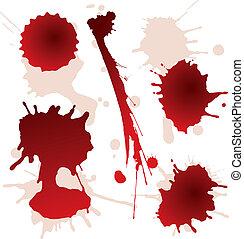 fläckar, sätta, stänk, blod