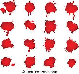 fläckar, vektor, sätta, blod