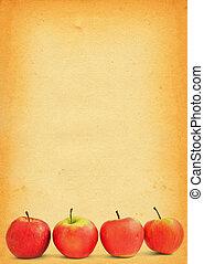 fläckat, papper, gammal, äpplen, mot