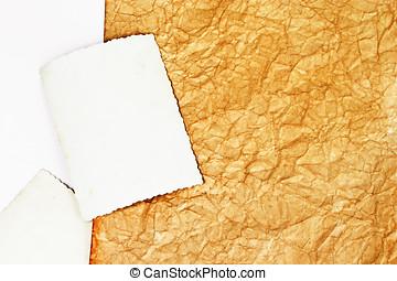 fläckat, papper, gammal