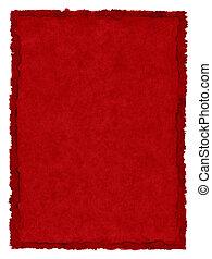 fläckat, papper, röd