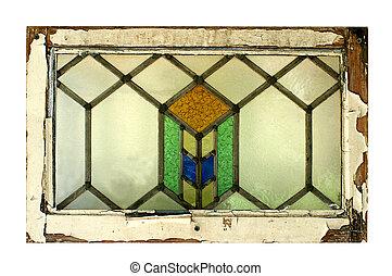 fläckigt glas fönster, med, skalande, ram