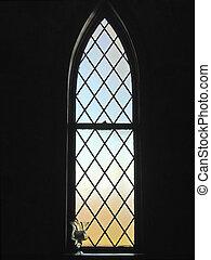 fläckigt glas fönster