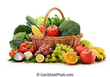 flätverk, grönsaken, isolerat, frukter, korg, vit, komposition