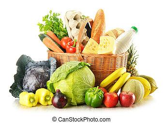 flätverk korg, med, ombyte, av, specerier, produkter,...