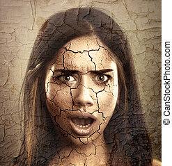 flå omsorg, concept., kvinna, med, torka, knäckt, ansikte