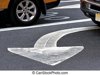 flèche, asphalte, signe