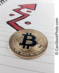 flèche, bitcoin, or