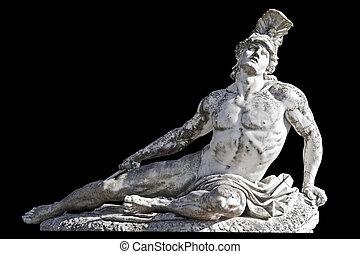 flèche, blessé, achille, statue, prêt, tondu, sur,...