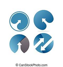 flèche, cercle, négatif, collection, espace