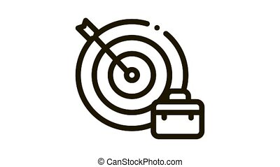 flèche, cible, cas, métier, icône, animation, succès, chasse