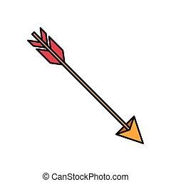 flèche, coloré, silhouette, chasse
