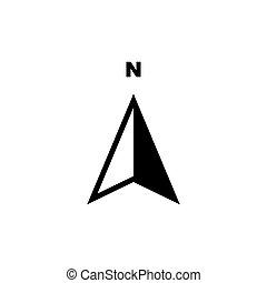 flèche, compas, symbole, nord, icône