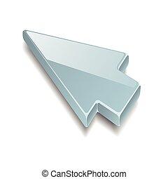 flèche, curseur, sur, arrière-plan gris