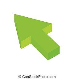 flèche, déclic, isométrique, 3d, icône