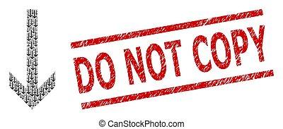 flèche, détresse, copie, cachet, fractal, collage, icônes, pas, bas