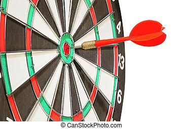 flèche, dards, dans, a, centre, a, cible