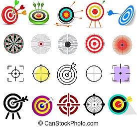 flèche, ensemble, but, business, cible, isolé, illustration, stratégie, but, jeu, vecteur, fond, dards, reussite, blanc, sport, cible, icône
