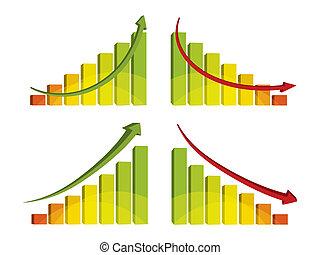 flèche, graphique barre, coloré, 3d