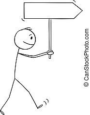 flèche, homme, tenue, marche, illustration, dessin animé, signe, vecteur, homme affaires, ou, vide